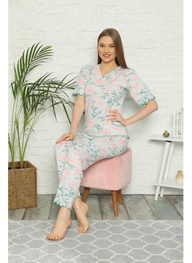 Akbeniz Kadın %100 Pamuk Penye Kısa Kol Pijama Takım 3306 Gri